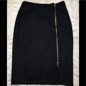 J. Crew Wool Zip Pencil Skirt 4 Black